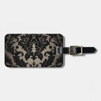 Etiqueta De Bagagem Impressão preto & cinzento da cor damasco