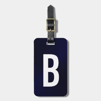 Etiqueta De Bagagem Inicial metálica escovada azuis marinhos do