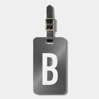 Etiqueta De Bagagem Inicial metálica escovada cinzas do monograma