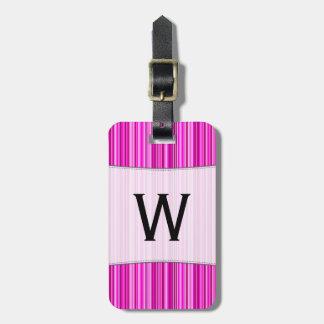 Etiqueta De Bagagem Inicial + Teste padrão magenta e cor-de-rosa fino