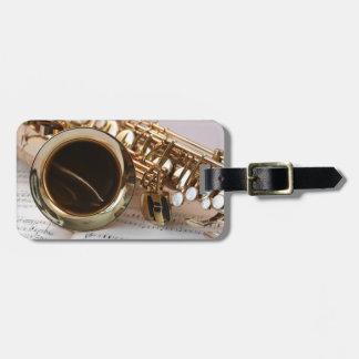 Etiqueta De Bagagem Instrumento musical do saxofone bonito