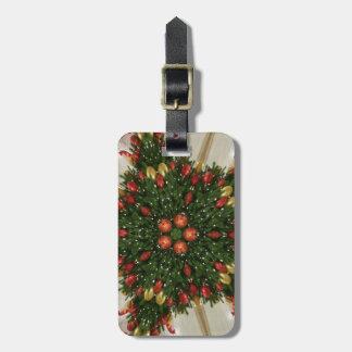 Etiqueta De Bagagem Kaleidoscopic verde vermelho da grinalda elegante