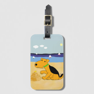 Etiqueta De Bagagem Kawaii bonito Airedale Terrier no Tag da bagagem