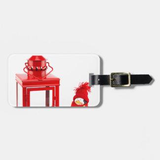 Etiqueta De Bagagem Lanterna vermelha com a estatueta do pinguim no