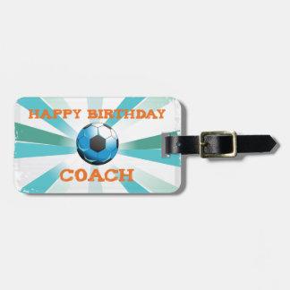 Etiqueta De Bagagem Laranja do treinador do futebol de Bday/cerceta