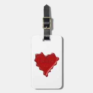 Etiqueta De Bagagem Laura. Selo vermelho da cera do coração com Laura