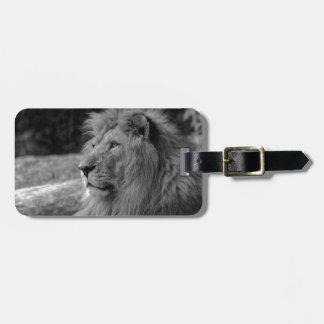 Etiqueta De Bagagem Leão preto & branco - animal selvagem