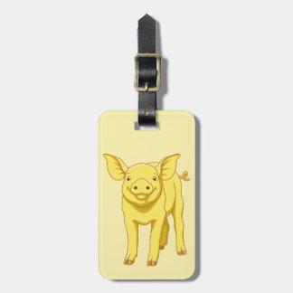 Etiqueta De Bagagem Leitão bonito porco dia do 17 de julho amarelo