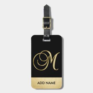 Etiqueta De Bagagem Letra preta elegante personalizada M do monograma