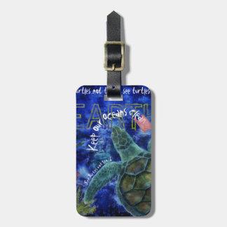 Etiqueta De Bagagem Limpe a arte da tartaruga de mar do oceano