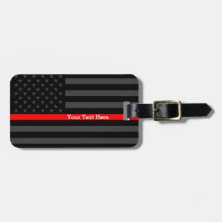 Etiqueta De Bagagem Linha vermelha fina bandeira preta personalizada