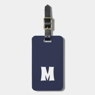 Etiqueta De Bagagem Linhas brancas azuis simples monograma corajoso