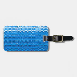 Etiqueta De Bagagem Linhas onduladas azuis teste padrão