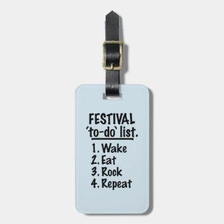 Etiqueta De Bagagem Lista do tumulto do ` do festival' (preto)