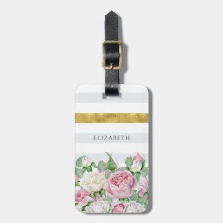 Etiqueta De Bagagem Listra elegante do ouro do FALSO com rosas