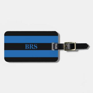 Etiqueta De Bagagem Listra preta do monograma três no azul de turquesa