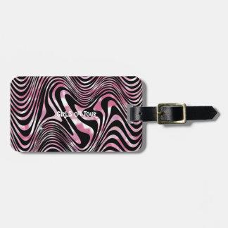 Etiqueta De Bagagem Listra Shimmery preta cor-de-rosa da zebra