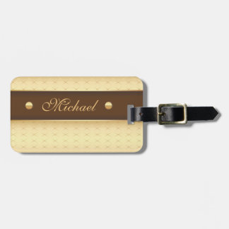 Etiqueta De Bagagem Luxo elegante no ouro e no Brown