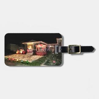 Etiqueta De Bagagem Luzes e decorações do natal vintage