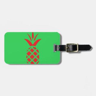 Etiqueta De Bagagem Maçã do pinho vermelho no verde