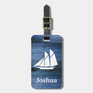 Etiqueta De Bagagem Madeira azul náutica & nome branco do costume do