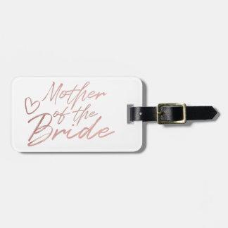 Etiqueta De Bagagem Mãe da noiva - o falso cor-de-rosa do ouro foil