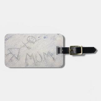 Etiqueta De Bagagem Mãe na etiqueta da mulher da vara da praia