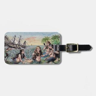 Etiqueta De Bagagem Mágica da antiguidade do vintage da sereia náutica