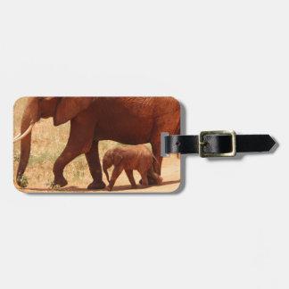 Etiqueta De Bagagem Mamã e Cub do elefante
