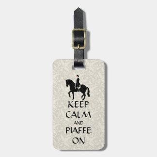 Etiqueta De Bagagem Mantenha a calma & o Piaffe no adestramento