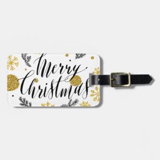 Etiqueta De Bagagem Mão dourada do Feliz Natal do brilho baseado num