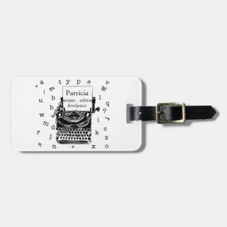 Etiqueta De Bagagem Mão moderna retro máquina de escrever tirada do