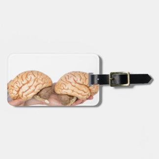 Etiqueta De Bagagem Mãos que guardaram o cérebro humano modelo no