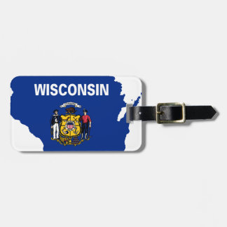 Etiqueta De Bagagem Mapa da bandeira de Wisconsin