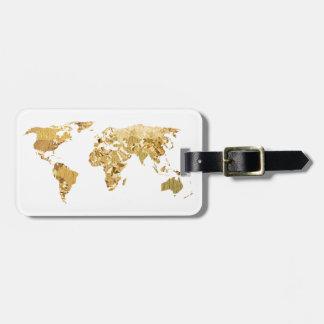 Etiqueta De Bagagem Mapa da folha de ouro