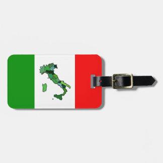 Etiqueta De Bagagem Mapa de Italia e da bandeira italiana