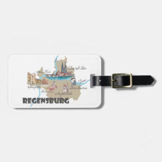 Etiqueta De Bagagem Mapa de Regensburg Alemanha