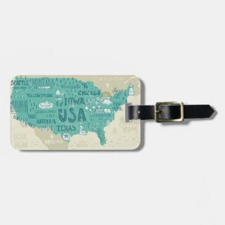 Etiqueta De Bagagem Mapa do Doodle dos EUA