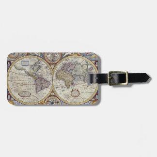 Etiqueta De Bagagem Mapa do mundo antigo #3