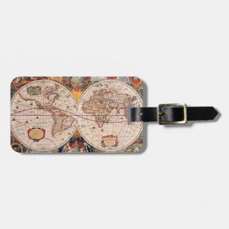 Etiqueta De Bagagem Mapa do mundo do vintage desde 1600