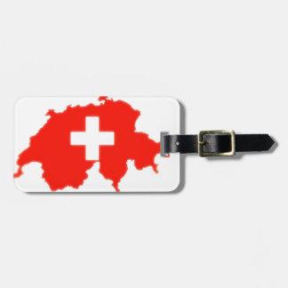 Etiqueta De Bagagem Mapa suíço da bandeira