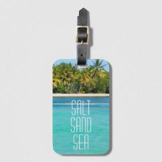 Etiqueta De Bagagem Mar tropical da areia de sal da praia