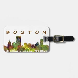 Etiqueta De Bagagem Mas de Boston. Lustre do safari da skyline