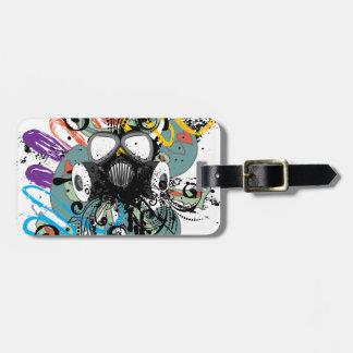 Etiqueta De Bagagem Máscara de gás floral do Grunge