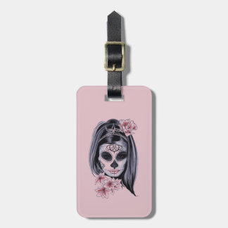 Etiqueta De Bagagem Máscara do esqueleto da mulher