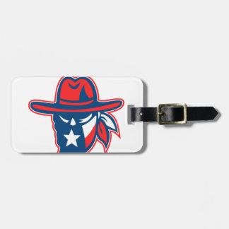 Etiqueta De Bagagem Mascote foragido da bandeira de Texas do Texan