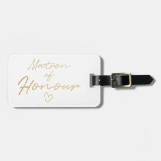 Etiqueta De Bagagem Matrona da honra - folha do falso do ouro
