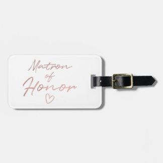 Etiqueta De Bagagem Matrona da honra - o falso cor-de-rosa do ouro
