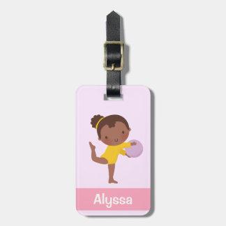 Etiqueta De Bagagem Menina bonito do Gymnast com o Tag da bagagem da