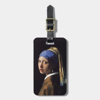 Etiqueta De Bagagem Menina de Johannes Vermeer com um brinco da pérola